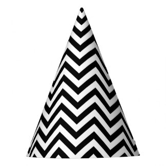Black and White Zigzag Stripes Chevron Pattern Party Hat