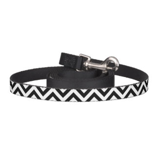 Black and White Zigzag Stripes Chevron Pattern Pet Leash