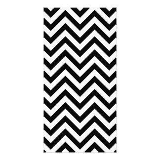 Black and White Zigzag Stripes Chevron Pattern Photo Card Template
