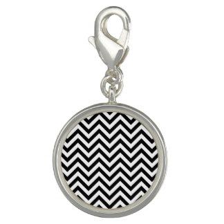 Black and White Zigzag Stripes Chevron Pattern Photo Charm