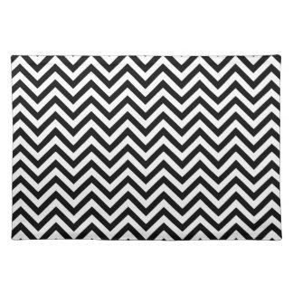 Black and White Zigzag Stripes Chevron Pattern Placemat
