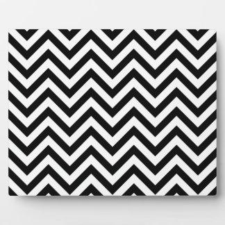 Black and White Zigzag Stripes Chevron Pattern Plaque