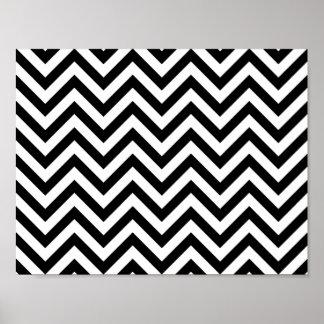 Black and White Zigzag Stripes Chevron Pattern Poster