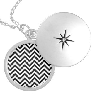 Black and White Zigzag Stripes Chevron Pattern Silver Plated Necklace