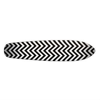 Black and White Zigzag Stripes Chevron Pattern Skate Board