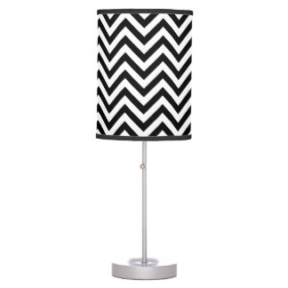 Black and White Zigzag Stripes Chevron Pattern Table Lamp
