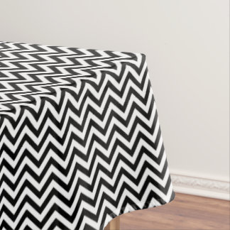 Black and White Zigzag Stripes Chevron Pattern Tablecloth