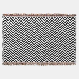 Black and White Zigzag Stripes Chevron Pattern Throw Blanket