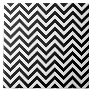 Black and White Zigzag Stripes Chevron Pattern Tile