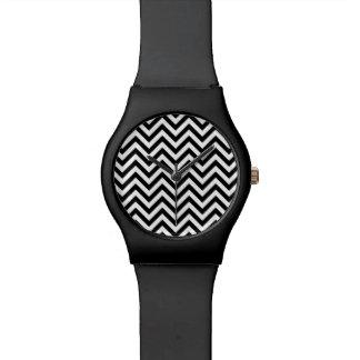 Black and White Zigzag Stripes Chevron Pattern Watch