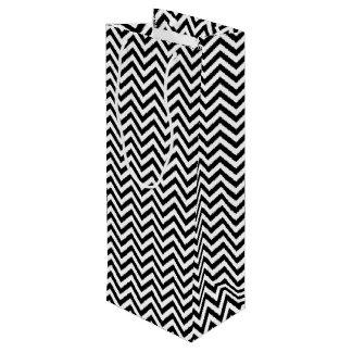 Black and White Zigzag Stripes Chevron Pattern Wine Gift Bag
