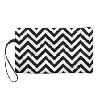 Black and White Zigzag Stripes Chevron Pattern Wristlet