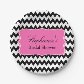 Black and White Zigzag with Hot Pink Bridal Shower Paper Plate