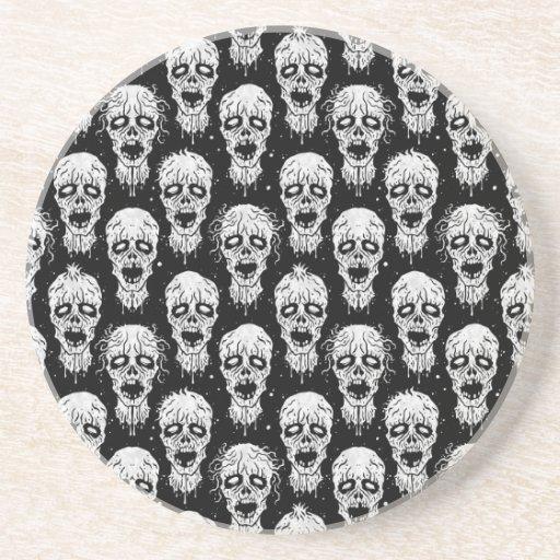 Black and White Zombie Apocalypse Pattern Drink Coaster