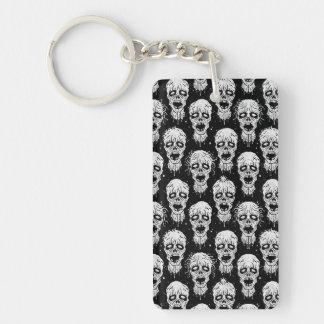 Black and White Zombie Apocalypse Pattern Rectangle Acrylic Key Chain