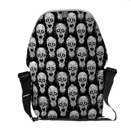 Black and White Zombie Apocalypse Pattern Messenger Bags