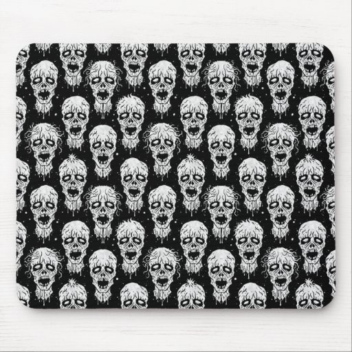 Black and White Zombie Apocalypse Pattern Mouse Pad