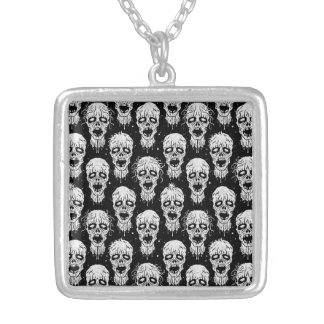 Black and White Zombie Apocalypse Pattern Square Pendant Necklace