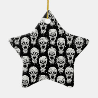 Black and White Zombie Apocalypse Pattern Christmas Ornaments
