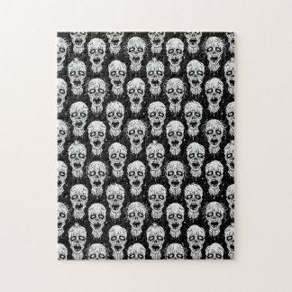 Black and White Zombie Apocalypse Pattern Jigsaw Puzzles