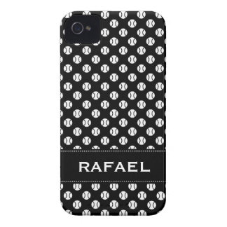 Black and whiteiPhone 4 case with tennis balls