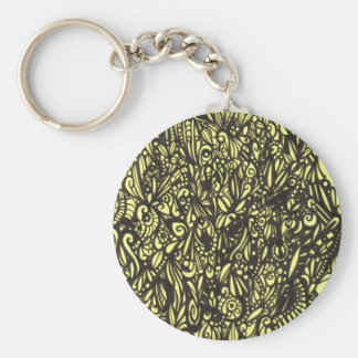 Black and Yellow Abstract Keychain