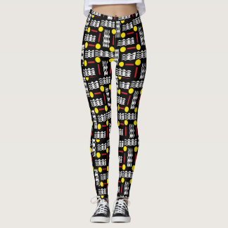 Black and Yellow Abstract Textile Leggings