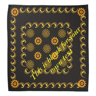 Black and yellow and orange design bandana