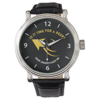 Black and yellow beer quote watch