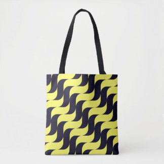 Black and Yellow Cascading Waves Tote Bag