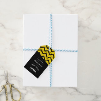 Black and yellow  Chevron Bridal Shower Wedding Gift Tags