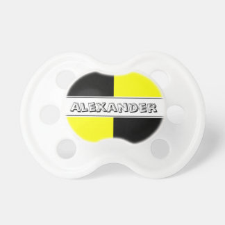 Black and yellow crash test dummy baby pacifier