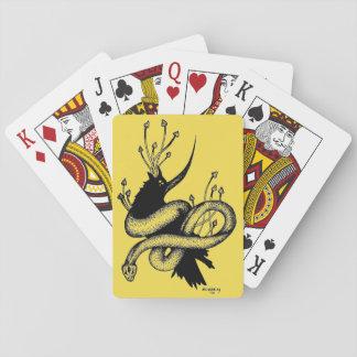 Black and Yellow Crow n Mushroom Playing Cards