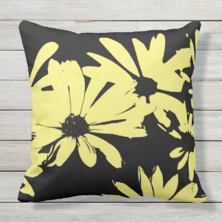 Black and Yellow Daisies Throw Pillow