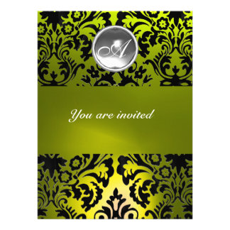BLACK AND YELLOW DAMASK GEM STONE MONOGRAM ANNOUNCEMENTS