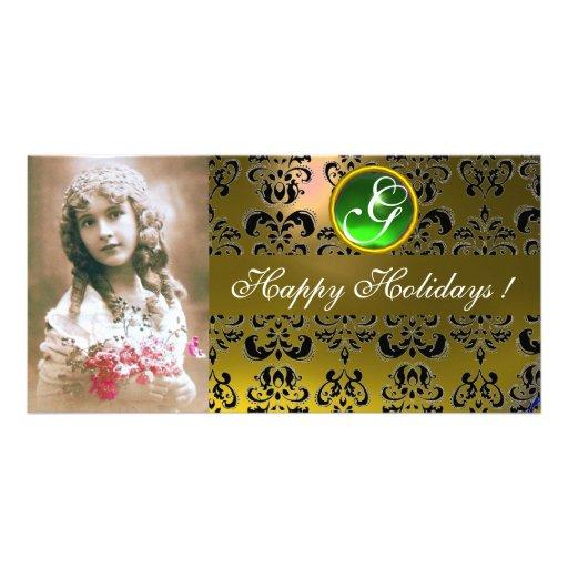 BLACK AND YELLOW DAMASK Green Emerald Monogram Photo Card