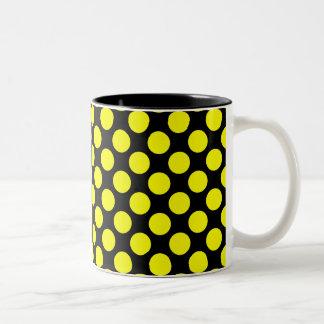 Black and Yellow Dots Two-Tone Coffee Mug