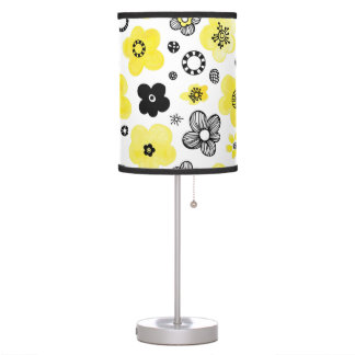 Black and Yellow Flowers Table Lamp
