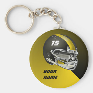 Black and Yellow Gold Football Helmet Keychain