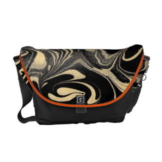 Black And Yellow Gold Marble Swirls Pattern Courier Bags