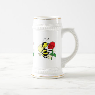 Black and yellow hornet wasp bee with a red rosE Beer Stein