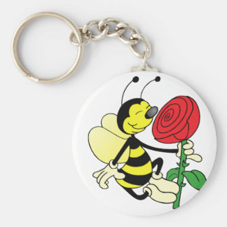 Black and yellow hornet wasp bee with a red rosE Keychain