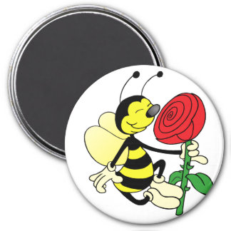 Black and yellow hornet wasp bee with a red rosE Magnet