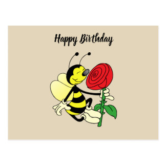 Black and yellow hornet wasp bee with a red rosE Postcard