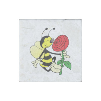Black and yellow hornet wasp bee with a red rosE Stone Magnets