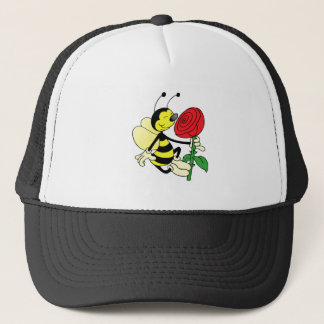 Black and yellow hornet wasp bee with a red rosE Trucker Hat