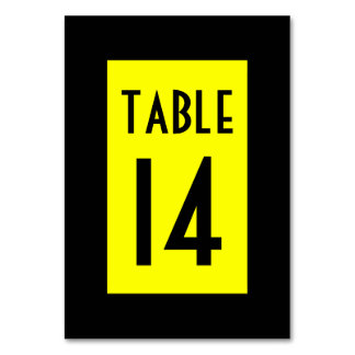 Black and Yellow Numbered Card