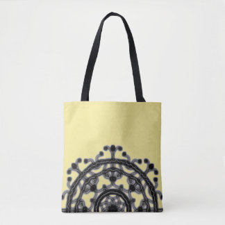 Black and Yellow, On the go, Tech Lace blossom  ~ Tote Bag