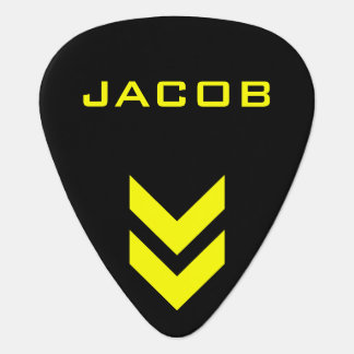Black and Yellow Personalized Name Guitar Pick