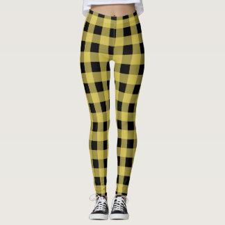 Black and yellow plaid pattern leggings